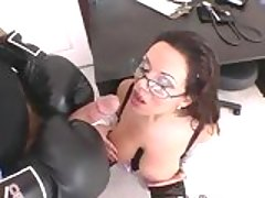 Brunette babe Sienna West gets cummed on her glasses after a hot fuck