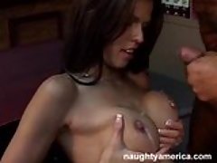 Small titted babe Shy Love gets a hot sticky jizz on her boobs