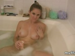 Jacuzzi bath and a dildo makes for fun for jamie c.