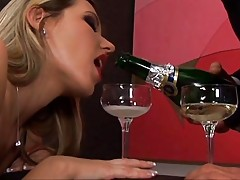 Anal babe drinks champagne and cum