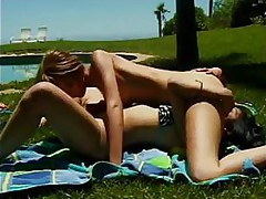 Awesome Sexual Action With Nicely-tanned Lesbian Babe On Sunny Lawn