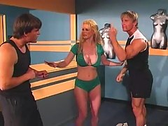 Blonde with Big Tits in Threesome with Two Guys at Gym
