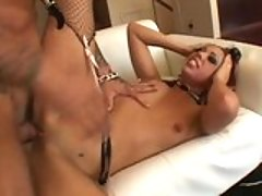 Sex slave Satine Phoenix getting boned deep by a wild cock in the couch