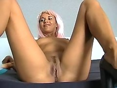 Sweaty Pink haired slut rides the cock