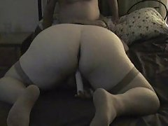 Amateur wife in stockings gives head and gets fucked