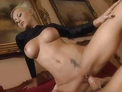 Hardcore short-haired blondie gets it in her tight ass