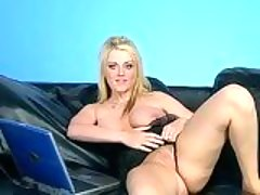 Blue eyed honey Sophie Dee getting hot on the couch on her sexy lingerie