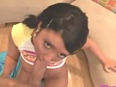 Sweet honey Cody Lane gets on her knees blowing a massive sausage