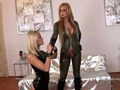 Sexy Dorothy Black and her girlfriend stripping their hot leather outfits