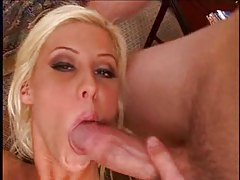 Blond cutie with tattoo takes facial