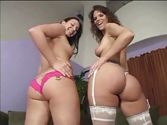 Milf and fresh dolly at threesome