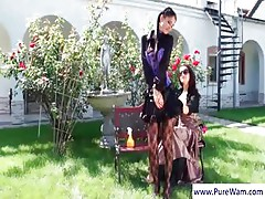 Mistress Takes Her Slave Outside And Gags Her And Gets Ass Creamed And Licked