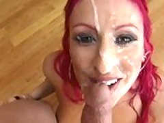 Cock hungry Raven Black gets her face covered with juicy warm cum