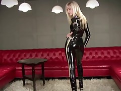 sexy blonde Black Latex Police Catsuit