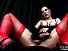 shemale in leather sucks hard cock