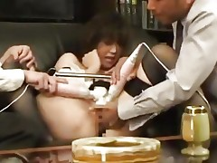 Secretary With Tied Legs Stimualted With Toys Giving Blowjob...