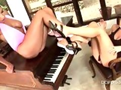 Horny lezbos Sandra Shine and Zafira getting horny together on the piano
