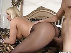 Big tit blonde cougar Mellanie Monroe gets fucked in her pantyhose