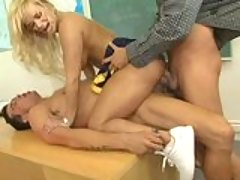 Shyla Stylez getting double drilled on her holes in a hard desk