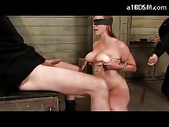 Busty Girl Blindfolded Moustraps On Nipples Rubbing Guy Cock...