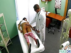 Beautiful teen in a fake hospital