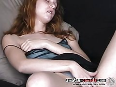 Real redhead fingers under panties upskirt on futon