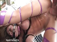 Hogtied slut gets doggy fuck outdoor