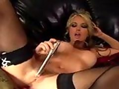 Lovely hot Kayden Kross glides her favorite toy and tickles her warm cracks