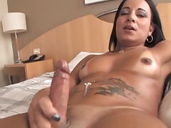 Latina brunette shemale cock jerking