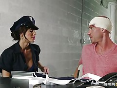 naughty police slut serving a big dick prisoner