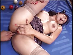 Stunning exotic asian girl gets her anus fucked by a huge black dick
