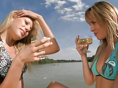 Anita Pearl and Blue Angel wine drinking on speed boat