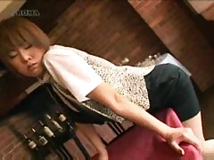 Japanese waitress rubs pussy against table