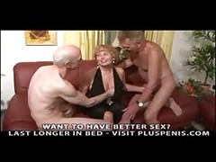 Granny Plays with Two Little Cocks Part1