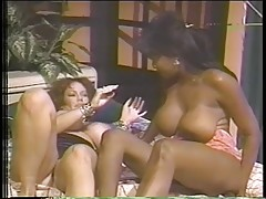 Hot black and white lesbians fuck each other with dildos through their panties