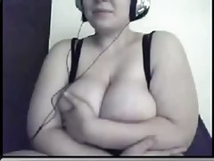 BBW with huge tits masturbating on webcam